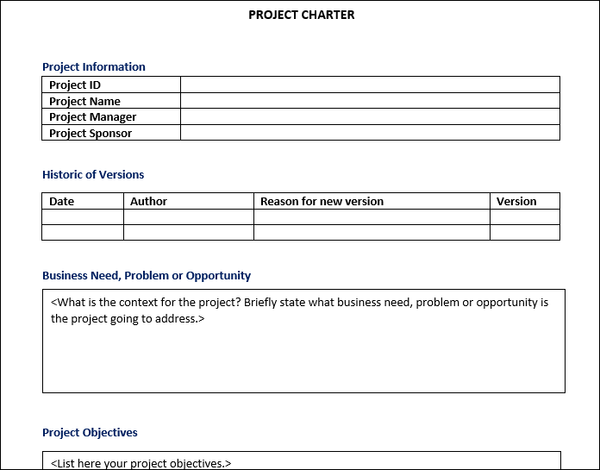 Project Charter Word Template