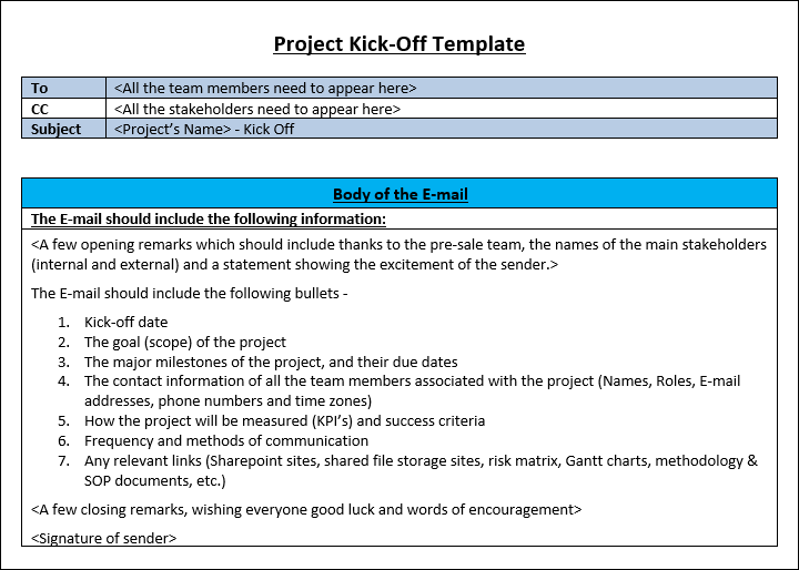 Project Kickoff E-mail Template and Examples