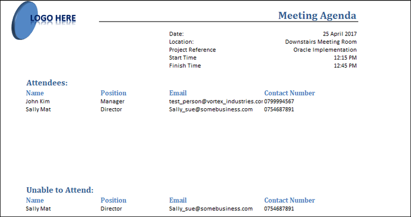 Meeting Templates, Project Management Meeting Agenda Excel Template