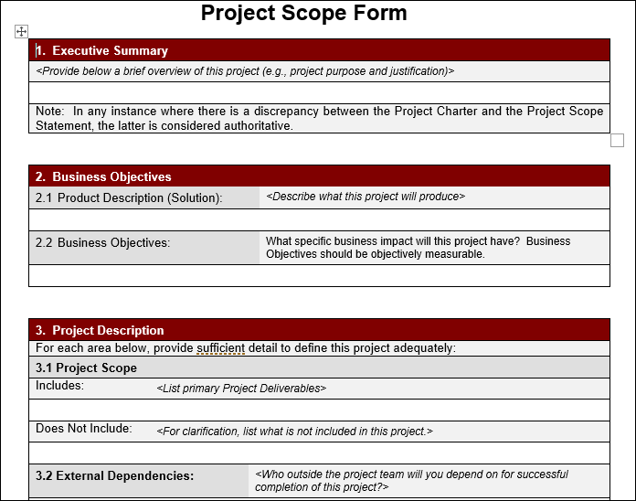 Project Scope Template