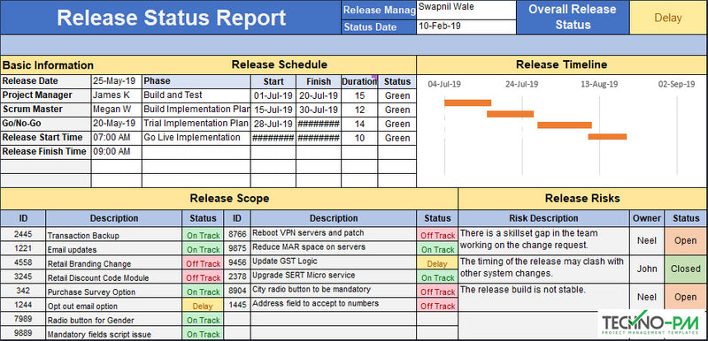 Release Status Report Template Excel