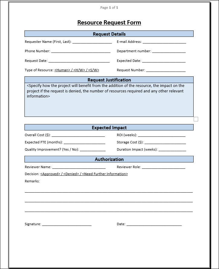 Resource Request Form