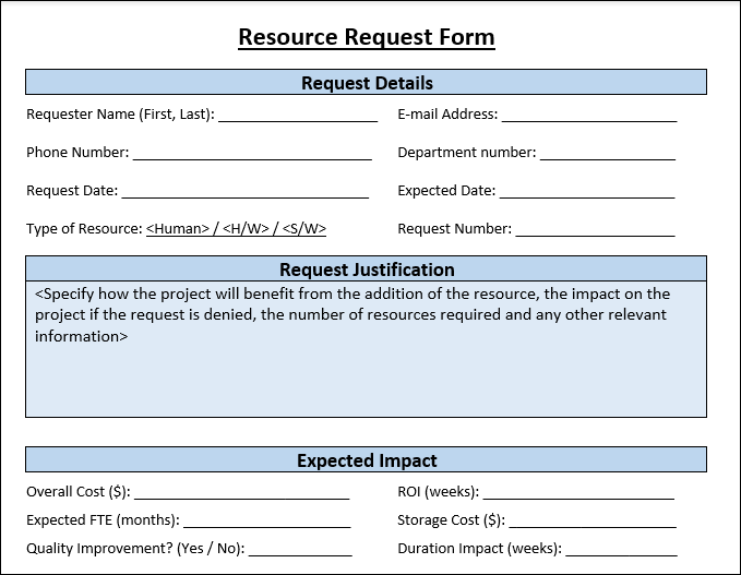 Resource Request Form Template
