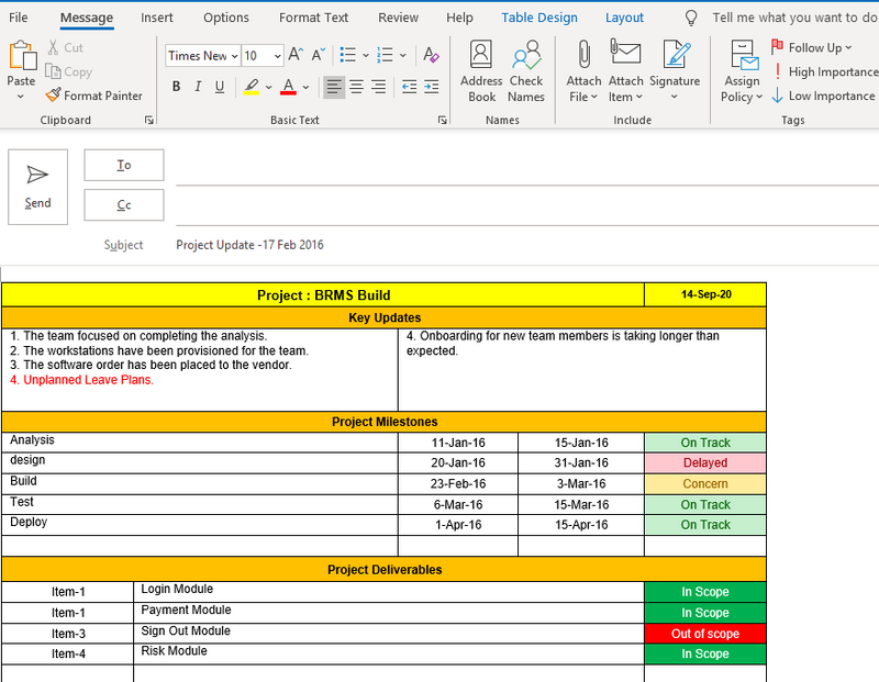 One Page Weekly Status Report Template