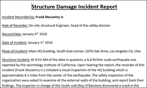 Structure damage incident report