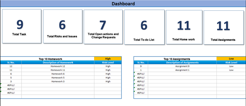 Excel Task Tracker  Dashboard- custom