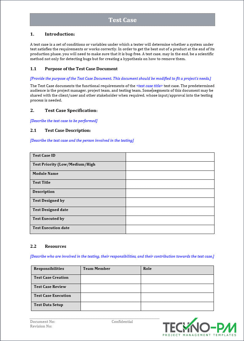Test Case Word Template