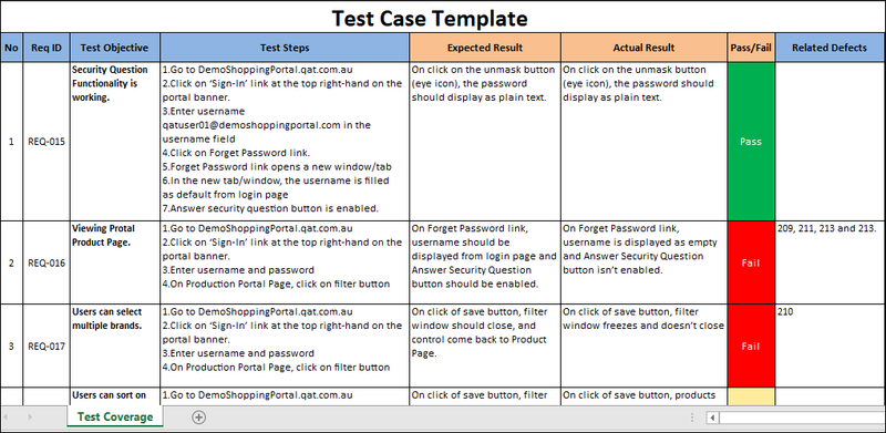Test Case Excel Template