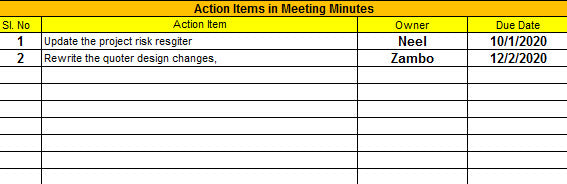 Action Item Tracker Template