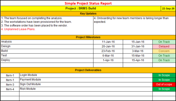 Simple Project Status Report