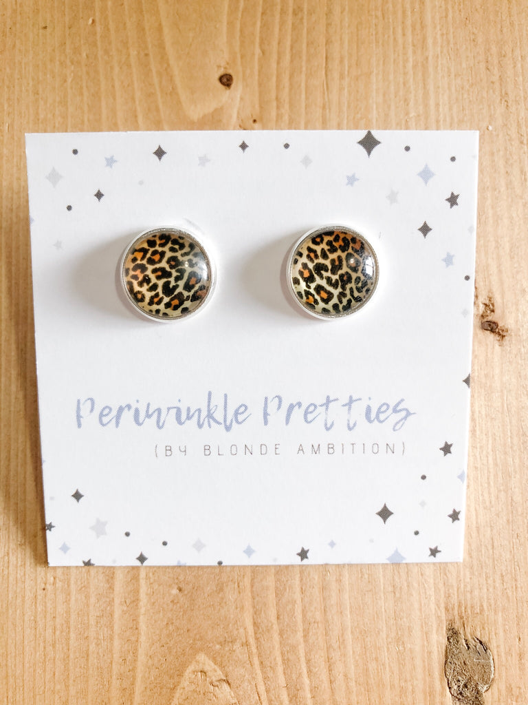 12mm Graphic Earrings -Leopard #11 - Blonde Ambition