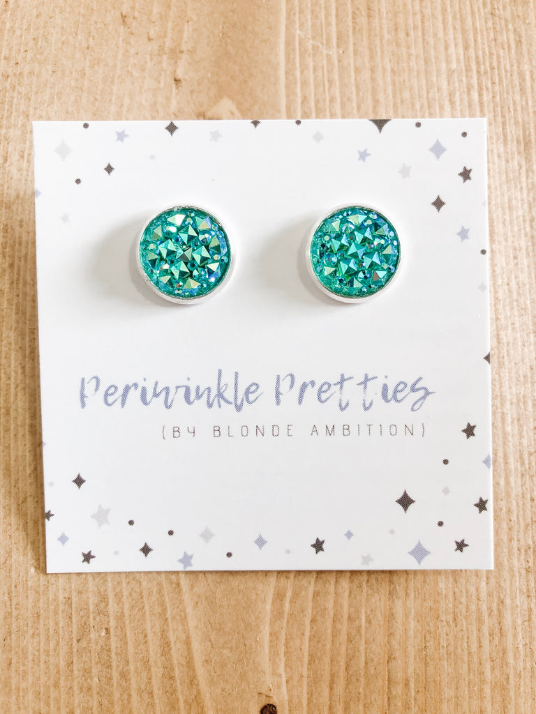 12mm Argyle Earrings - Teal #38 - Blonde Ambition