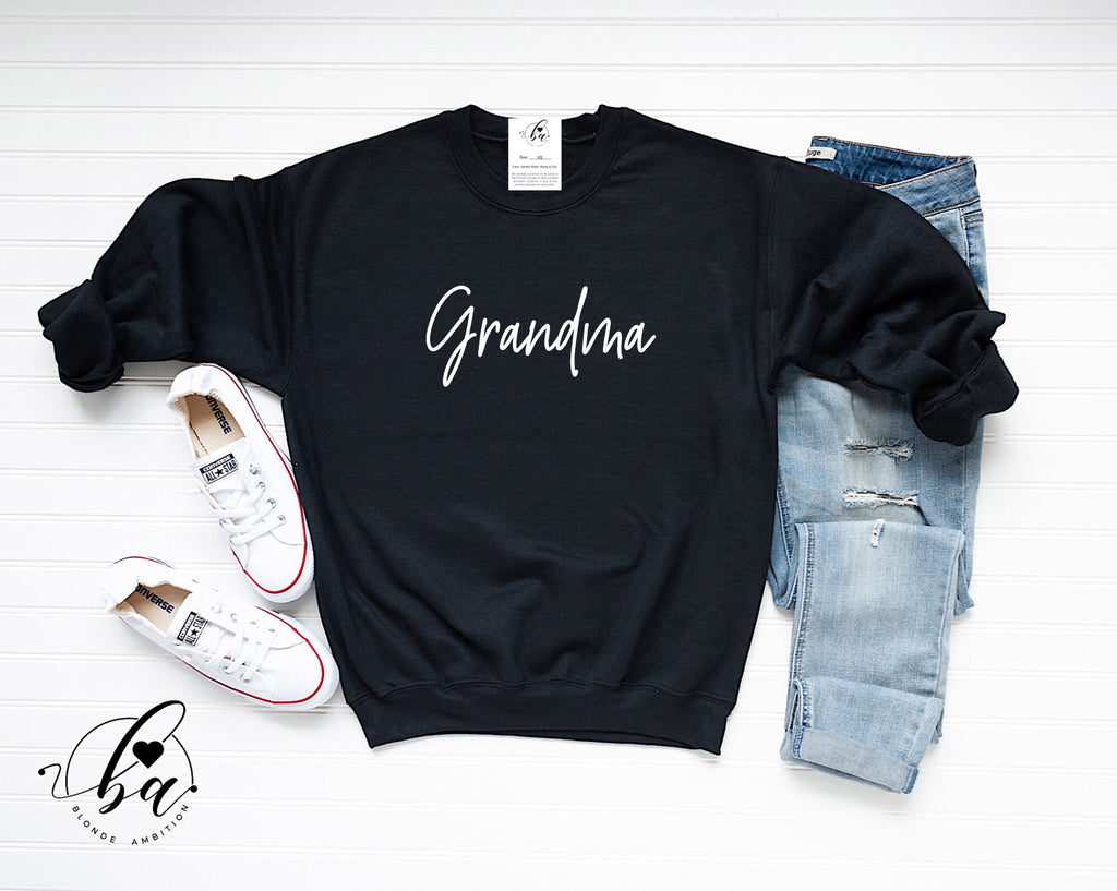 Grandma {SCRIPT} Cozy Crew Neck Sweater