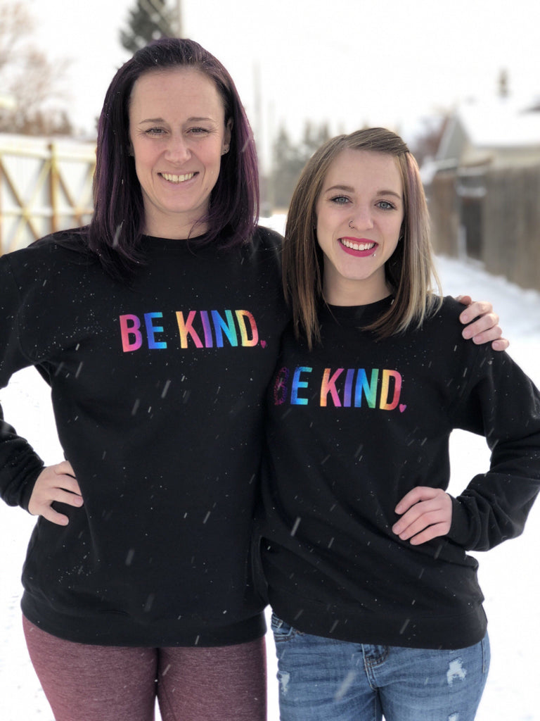 Be Kind Cozy Crew Neck Sweater - Black & Rainbow - Blonde Ambition