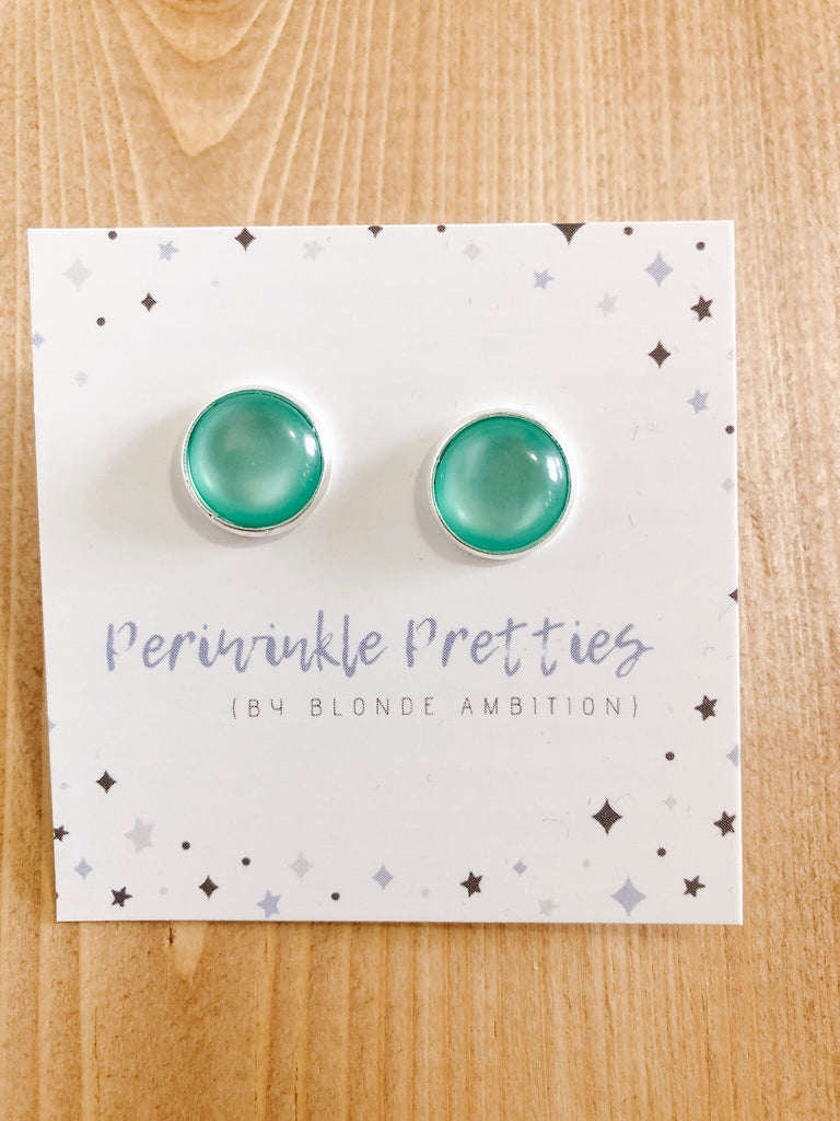 12mm Pearlite Earrings - Teal #66 - Blonde Ambition