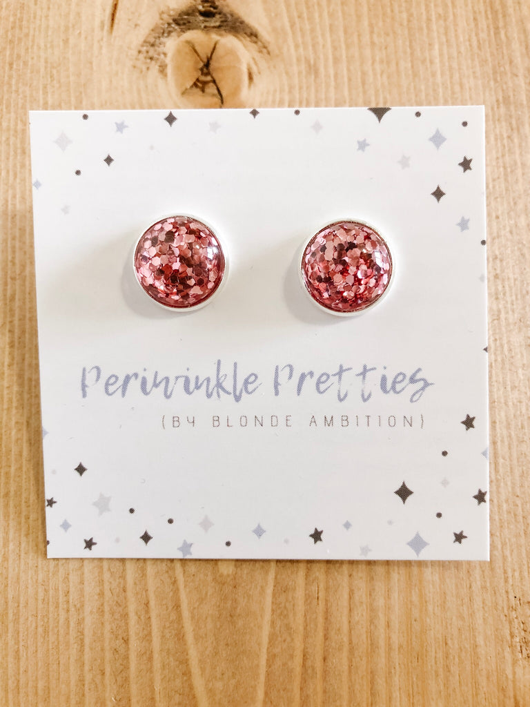 12mm Glitter Earrings - Pink #61 - Blonde Ambition