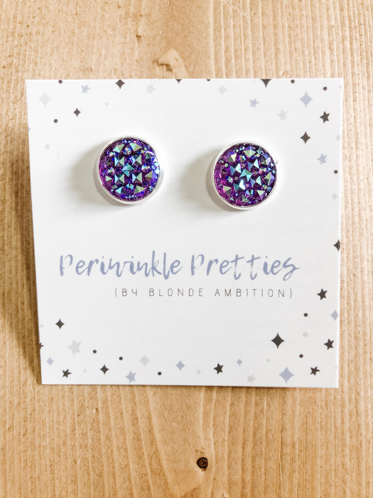 12mm Argyle Earrings - Purple #40 - Blonde Ambition