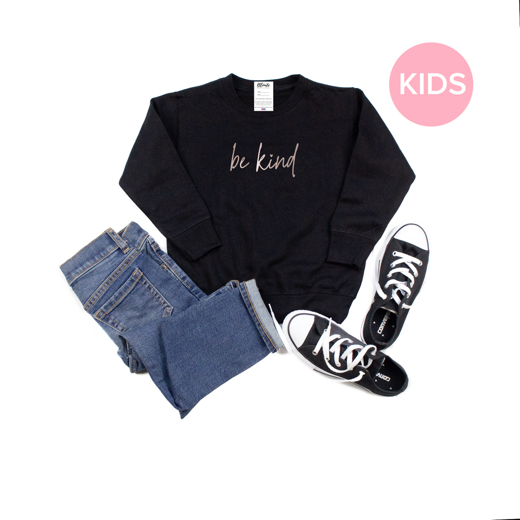 Be Kind Script Toddler & Youth Crew Neck Sweater - Black