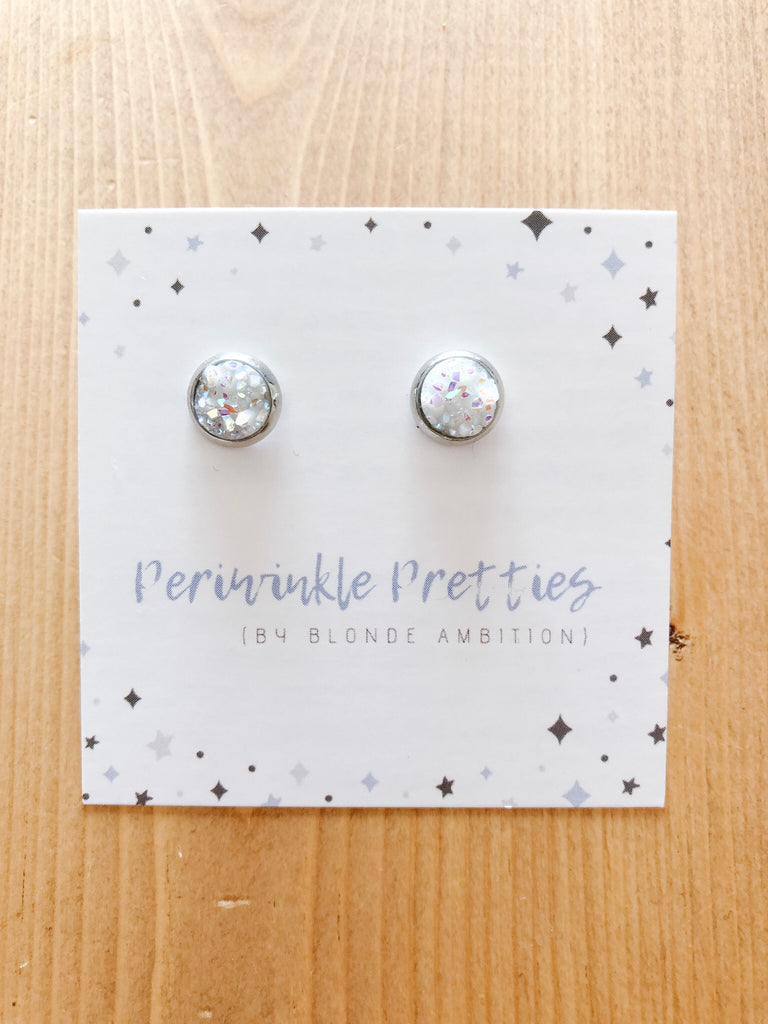 8mm Towering Twinkle Earrings - White Glow #25 - Blonde Ambition