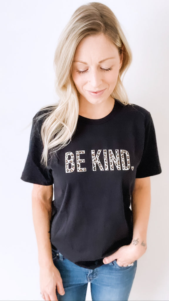 Be Kind BOLD Leopard Boyfriend Tee