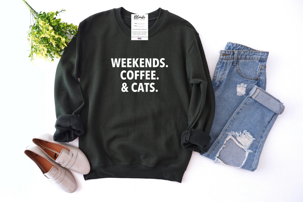 Weekends, Coffee & Cats Cozy Crew Neck Sweater (Multiple Colors)