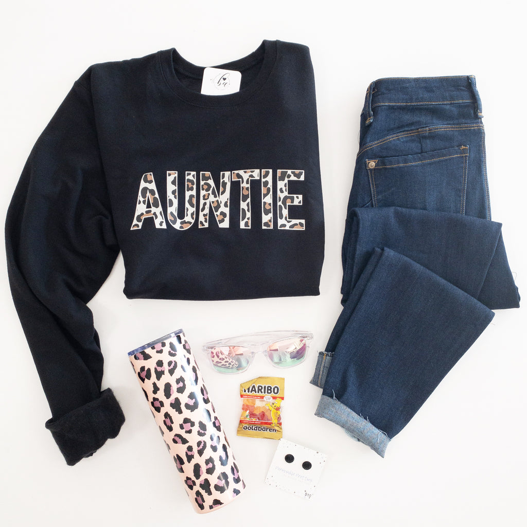 Auntie Leopard Cozy Crew Neck Sweater