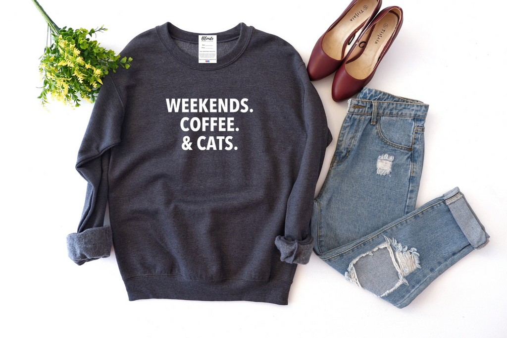Weekends, Coffee & Cats Cozy Crew Neck Sweater