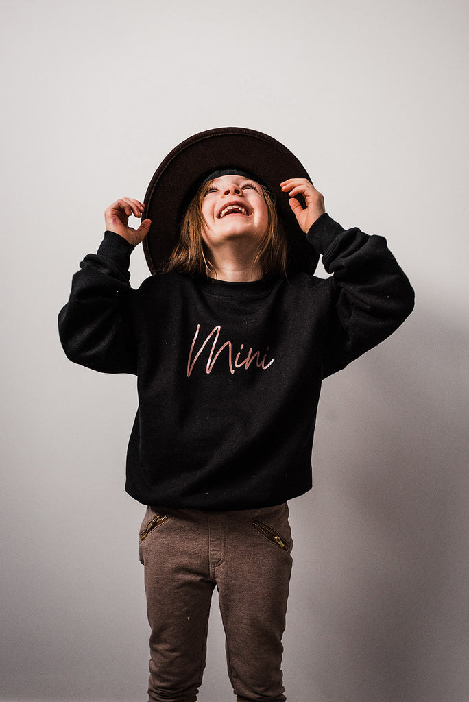 Mini {Script} Toddler & Youth Crew Neck Sweater - Black
