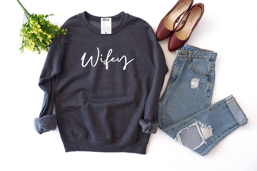 Wifey Cozy Crew Neck Sweater