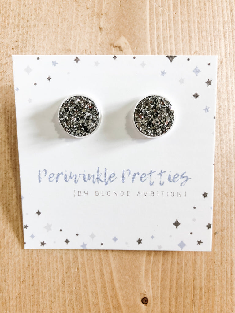 12mm Towering Twinkle Earrings - Charcoal #47 - Blonde Ambition