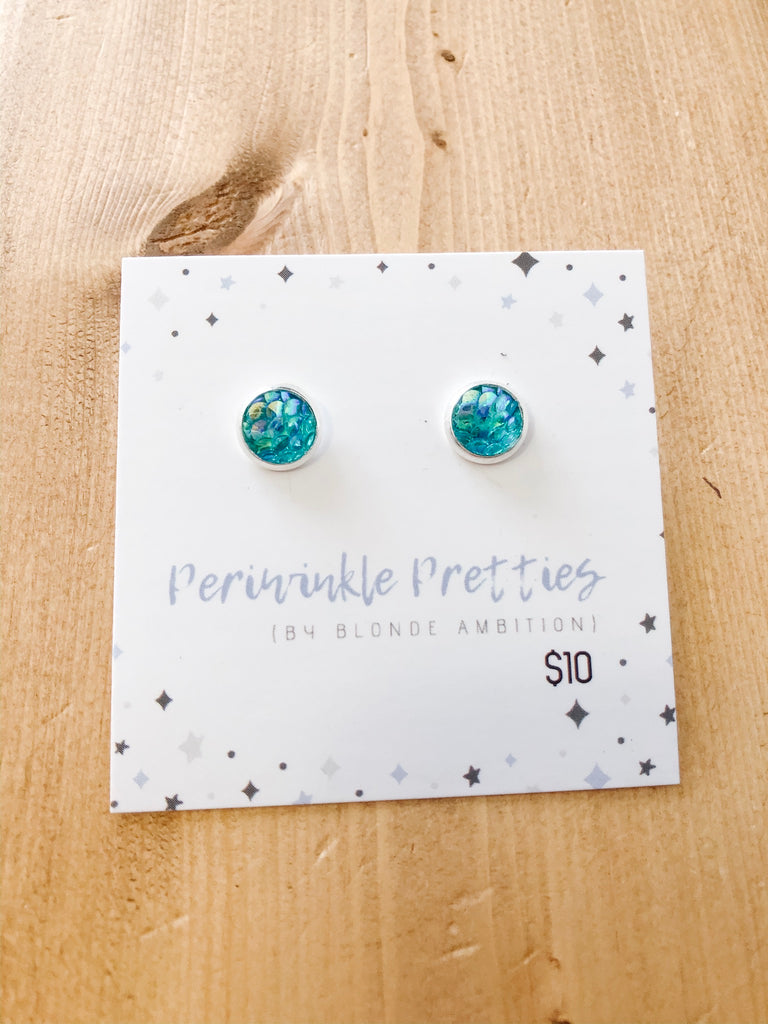 8mm Mermaid Earrings - Turquoise #43