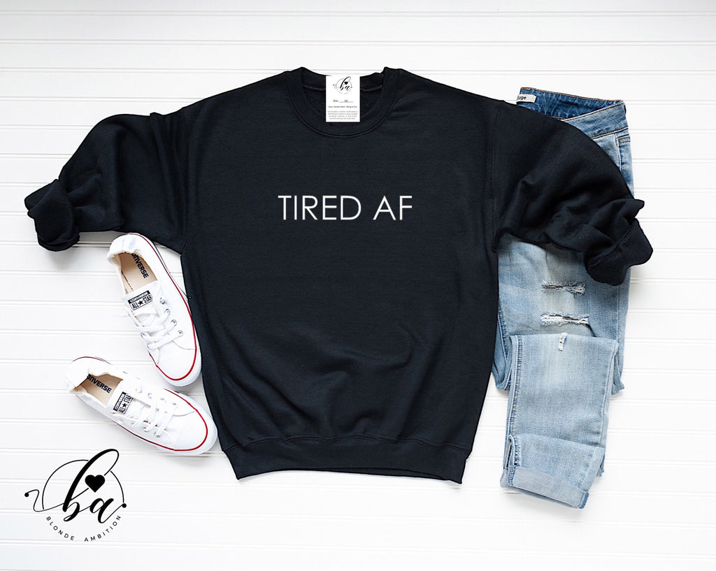 Tired AF Cozy Crew Neck Sweater (Multiple Colors)