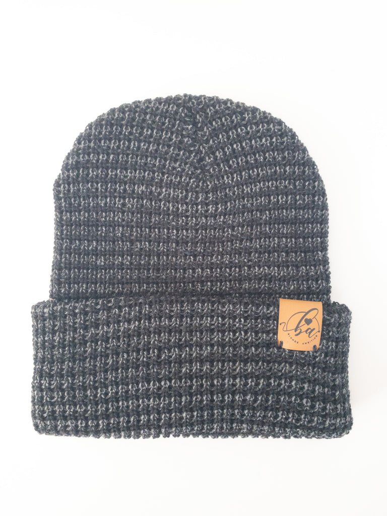 Marled Cuff Toque - Charcoal