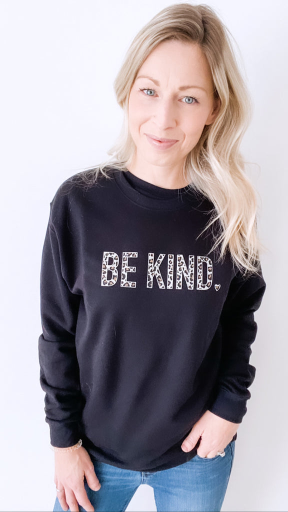 BE KIND Leopard Cozy Crew Neck Sweater