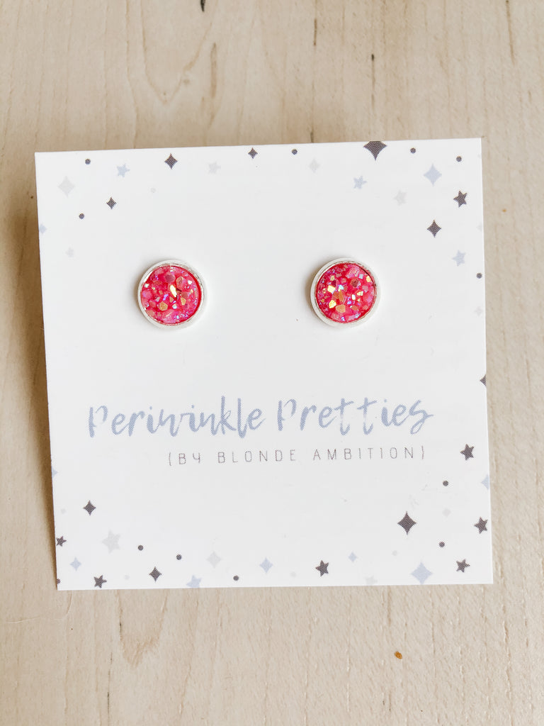 8mm Towering Twinkle Earrings - Pink #1