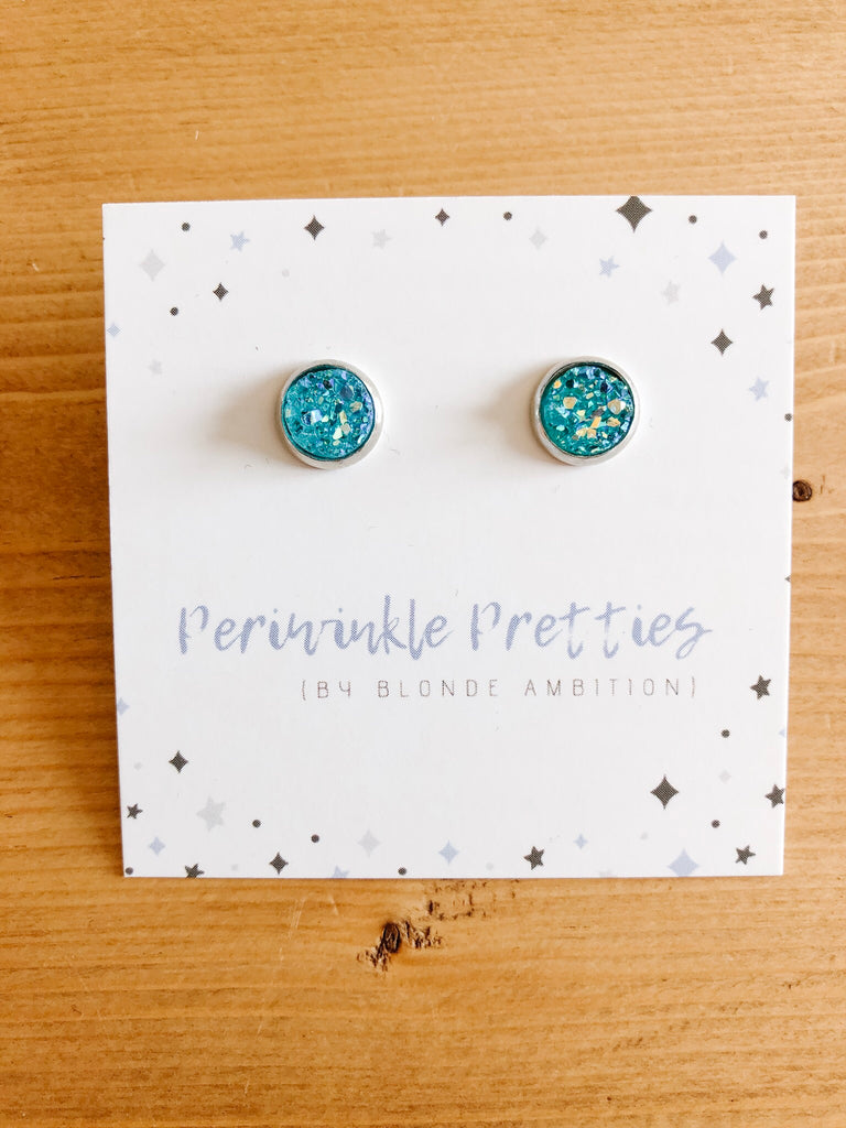8mm Towering Twinkle Earrings - Teal #78 - Blonde Ambition
