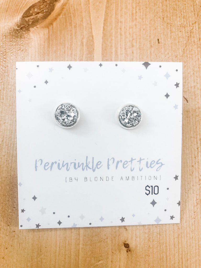 8mm Towering Twinkle Earrings - Chrome #79
