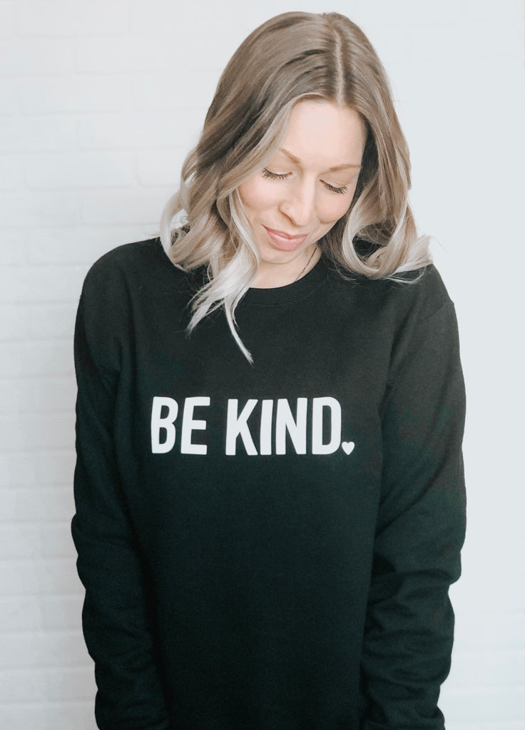 Be Kind Cozy Crew Neck Sweater - Black & White - Blonde Ambition
