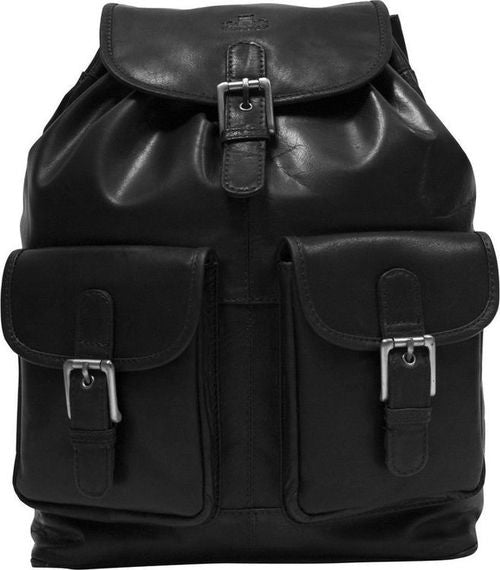 Rowallan Black Leather Backpack