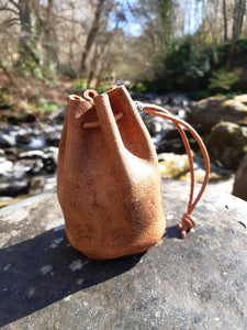 Handmade Tan Urban Hide Leather Drawstring Coin Pouch