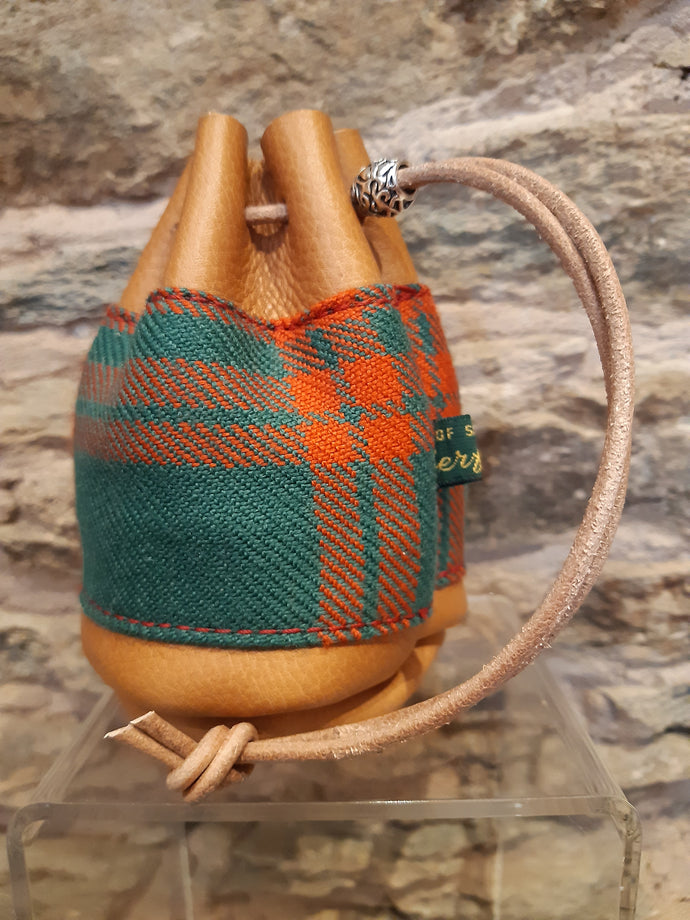 Ancient Menzies Tan Leather Tartan Drawstring Coin Pouch