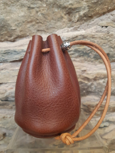 Handmade Brown Leather Drawstring Coin Pouch