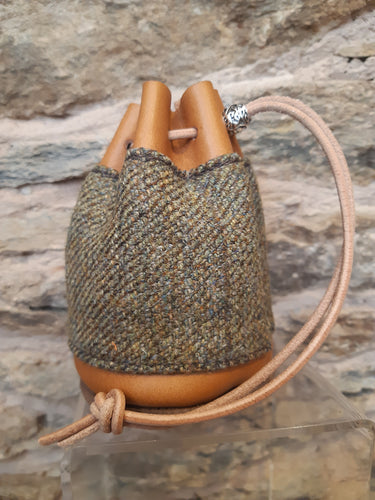 Handmade Tweed/Tan Leather Drawstring Coin Pouch