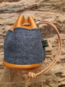 Handmade Blue Tweed/Tan Leather Drawstring Coin Pouch