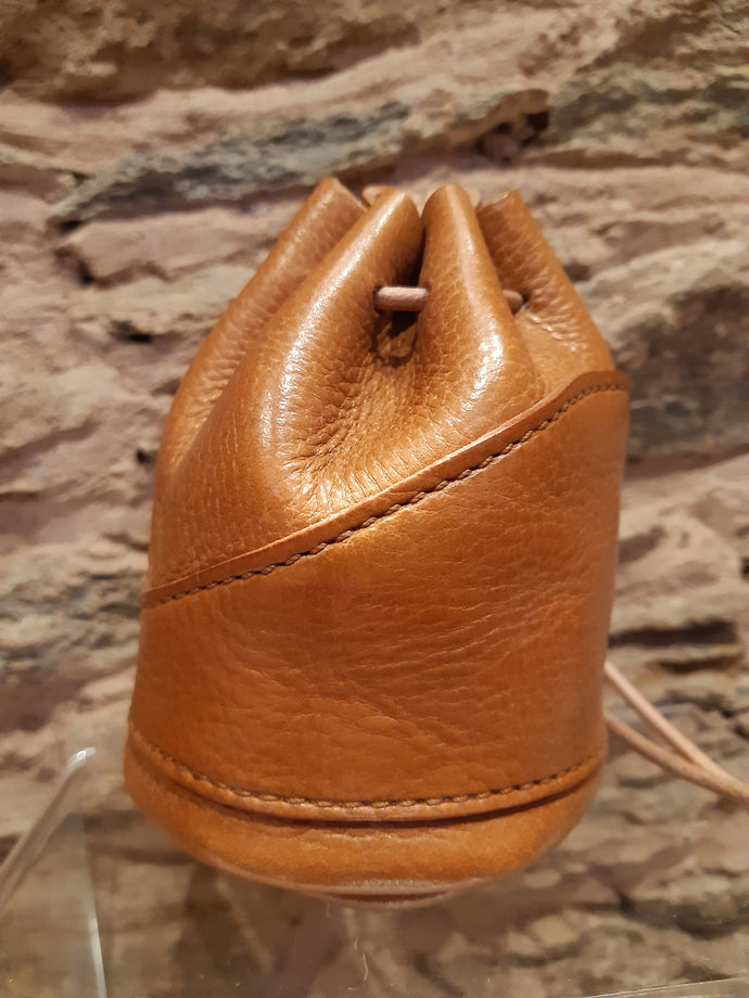 Handmade Tan Leather Drawstring Coin Pouch