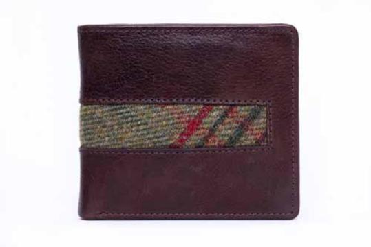 Crobett Leather Wallet Classic Green Tweed
