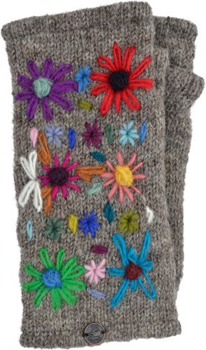 Hand Embroidered Flower - Fleece Lined Wrist Warmer - Marl Brown