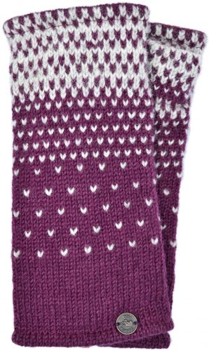 Graduated Tick Wrist Warmers - Deep Berry