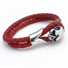 Men's Braided Red Skull Leather Bracelet