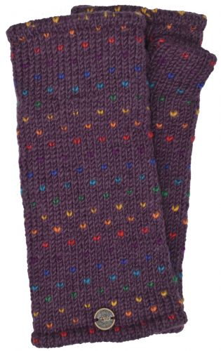 Hand Knit Rainbow Tick Wrist Warmers - Grape